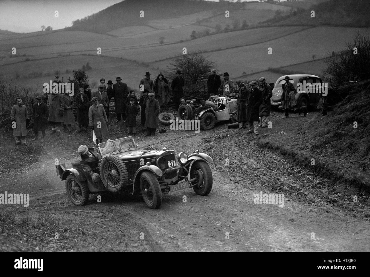 Frazer-Nash TT replica of TN Clare competing in the MG Car Club Midland Centre Trial, 1938. Artist: Bill Brunell. - Stock Image
