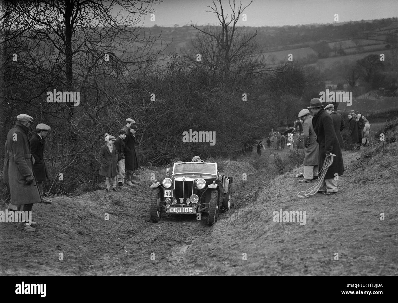 MG TA of F Wallace competing in the MG Car Club Midland Centre Trial, 1938. Artist: Bill Brunell. - Stock Image