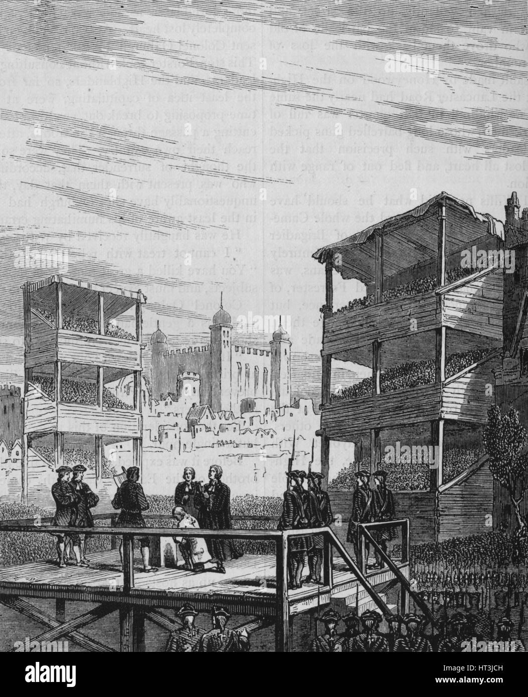 'Execution of Lord Derwentwater on Tower Hill (From an Old Print)', 24 February 1716, (c1880). Artist: Unknown. - Stock Image