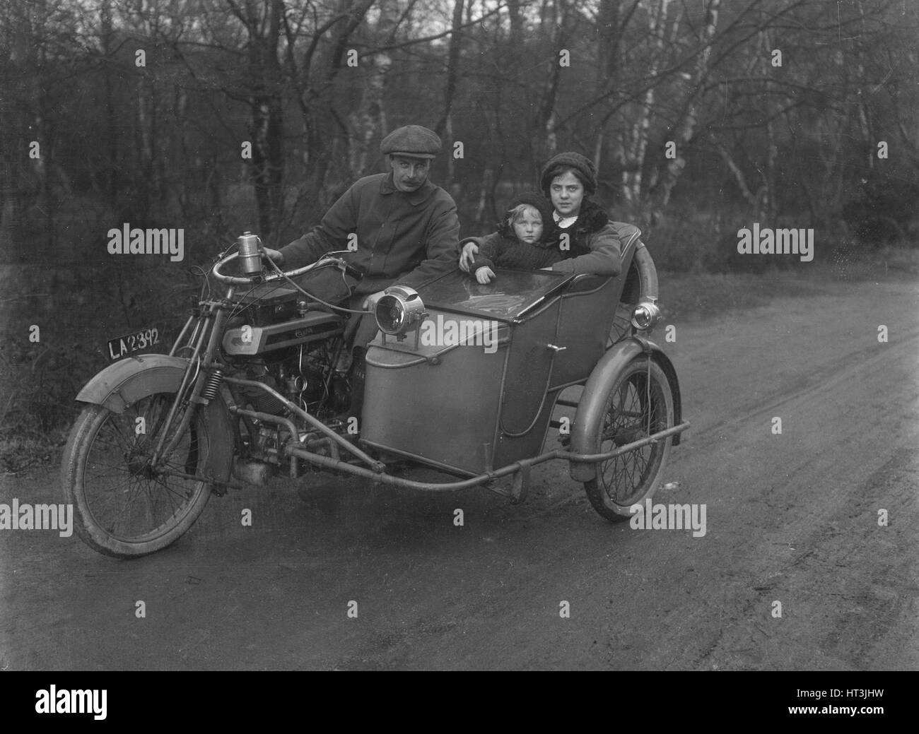 Clyno motorcycle and sidecar Artist: Bill Brunell. - Stock Image
