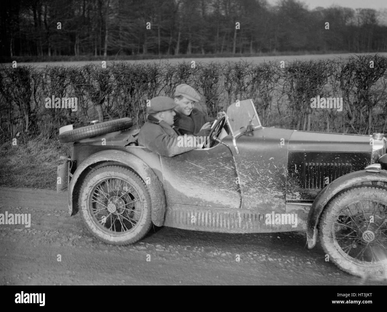 MG M Type competing in the MG Car Club Trial, 1931. Artist: Bill Brunell. - Stock Image