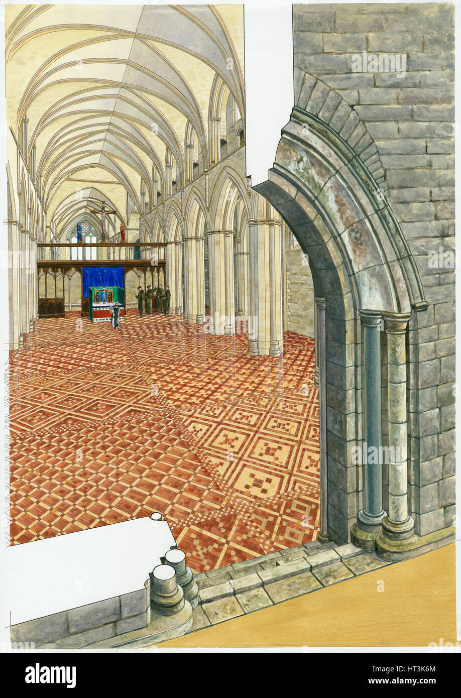Netley Abbey, 14th century, (c1990-2010) Artist: Roger Hutchins. - Stock Image