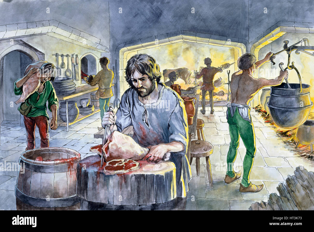 Kitchen in the Middle Ages, c14th century, (c1990-2010) Artist: Philip Corke. - Stock Image