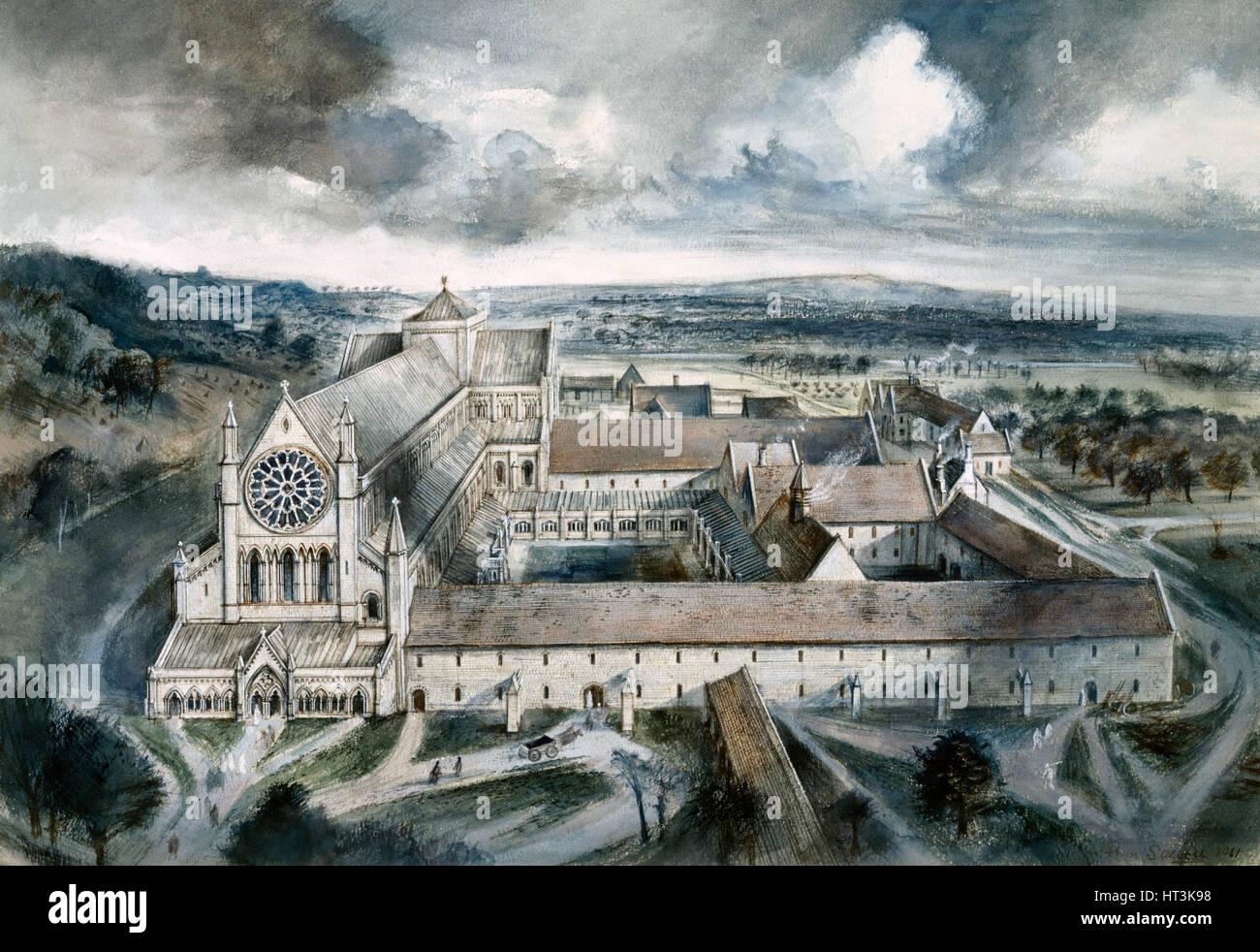 Byland Abbey, 1539, (c1960s). Artist: Alan Ernest Sorrell. - Stock Image