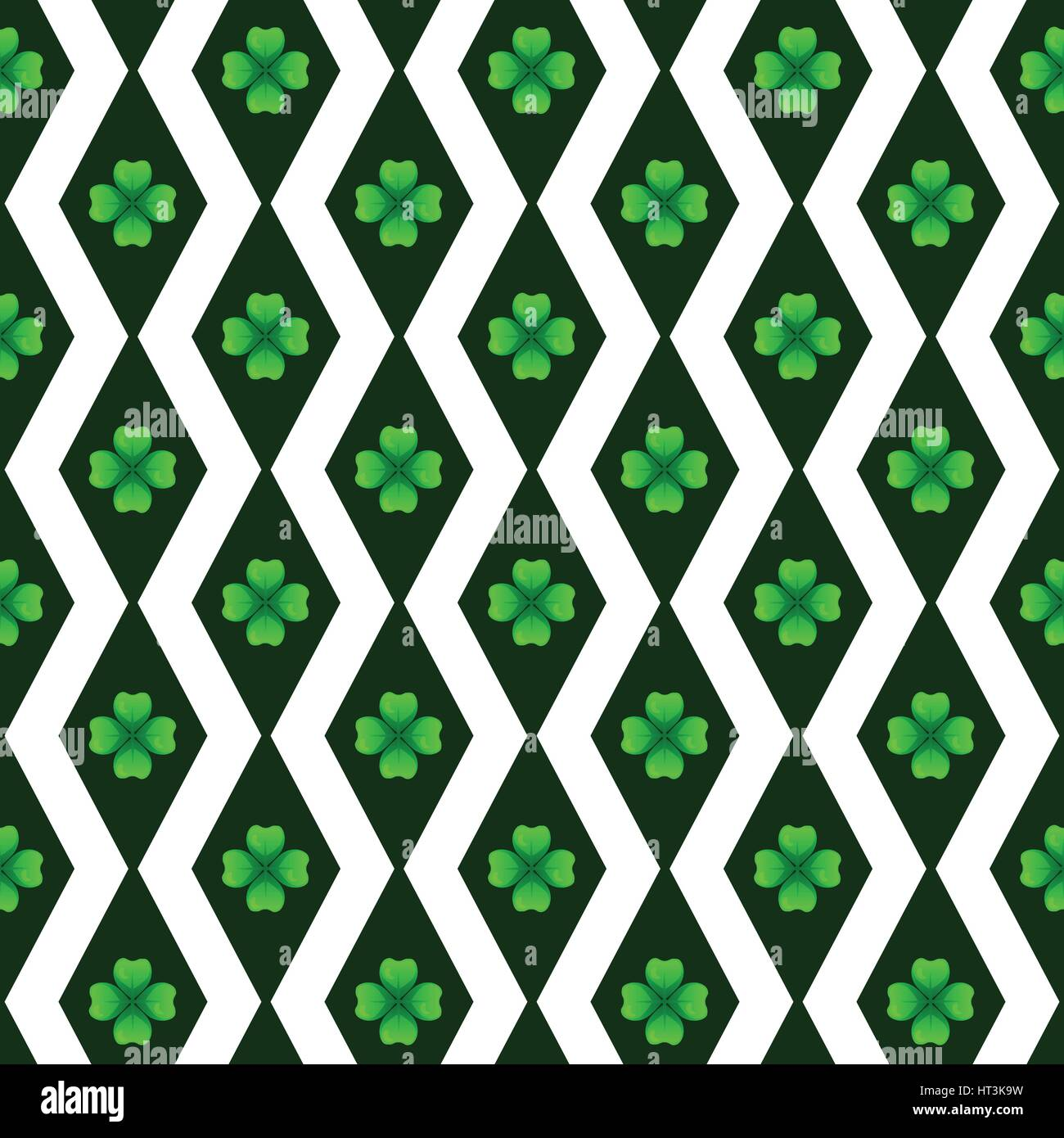 Green clover with four leaves. Sprig against dark rhombus. St Patricks Day geometry seamless pattern. Vector tileable - Stock Vector