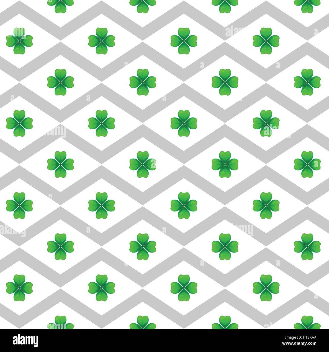 Green clover with four leaves. Sprig against white rhombus. St Patricks Day geometry seamless pattern. Vector tileable - Stock Vector