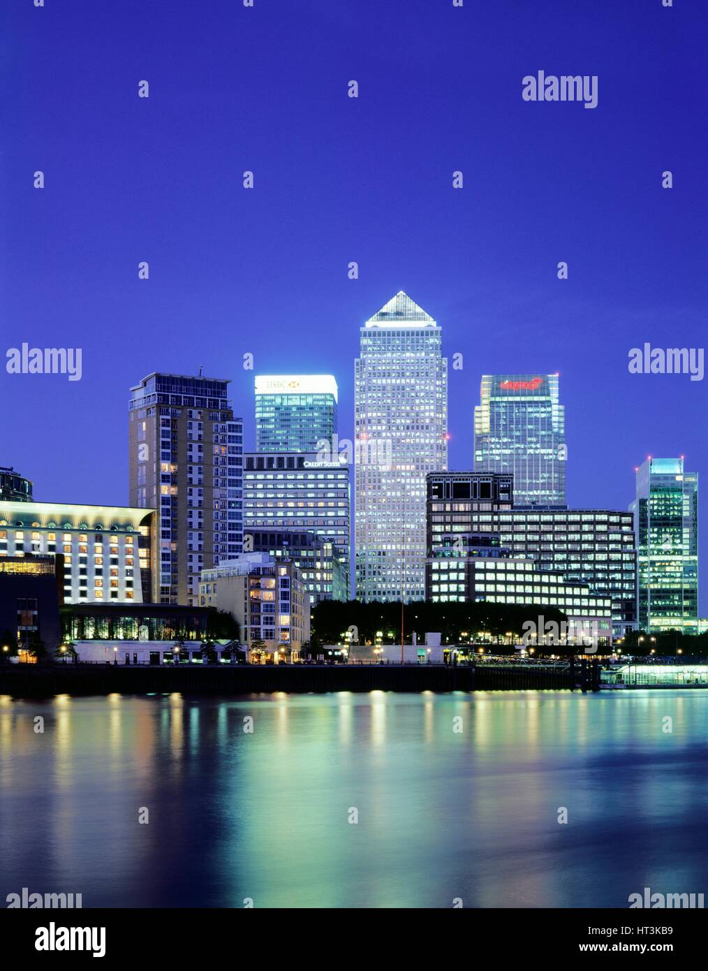 Canary Wharf at night, c1990-2010. Artist: Unknown. - Stock Image