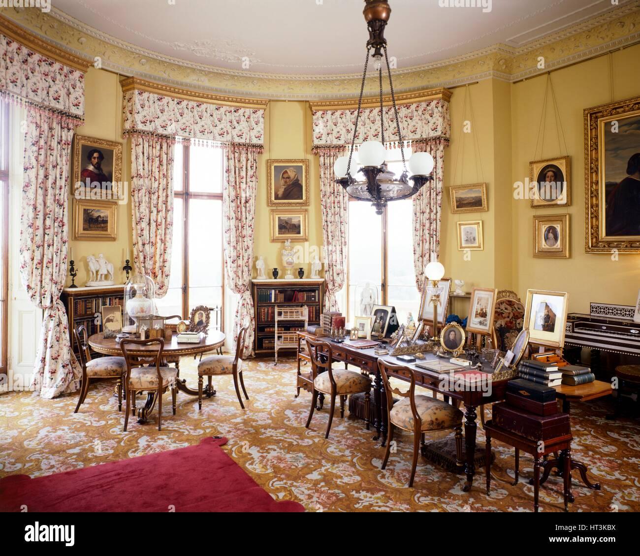Queen Victoria's Sitting Room, Osborne House, c1990-2010. Artist: Nigel Corrie. - Stock Image