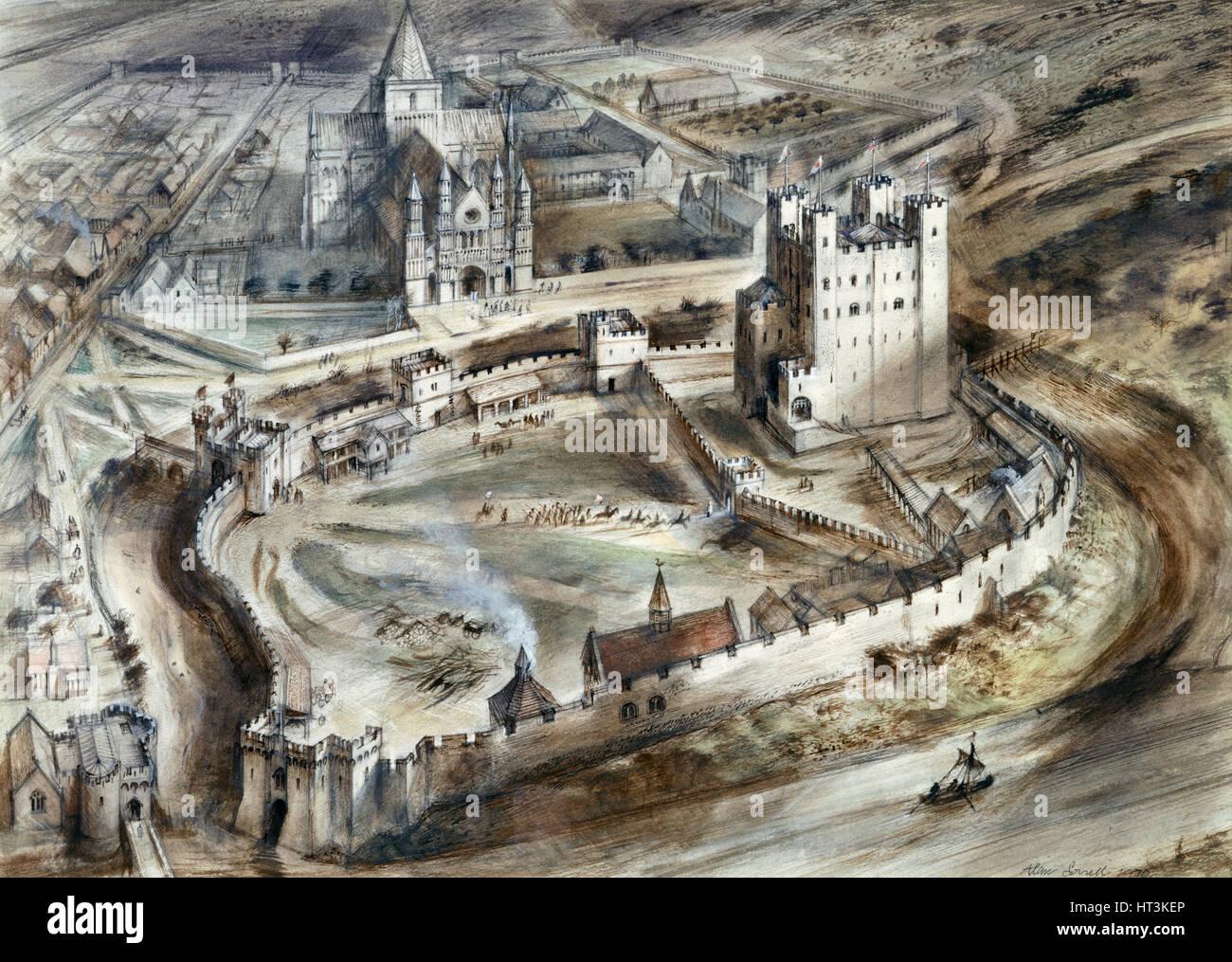 Rochester Castle, 15th century, (c1960s). Artist: Alan Ernest Sorrell. - Stock Image