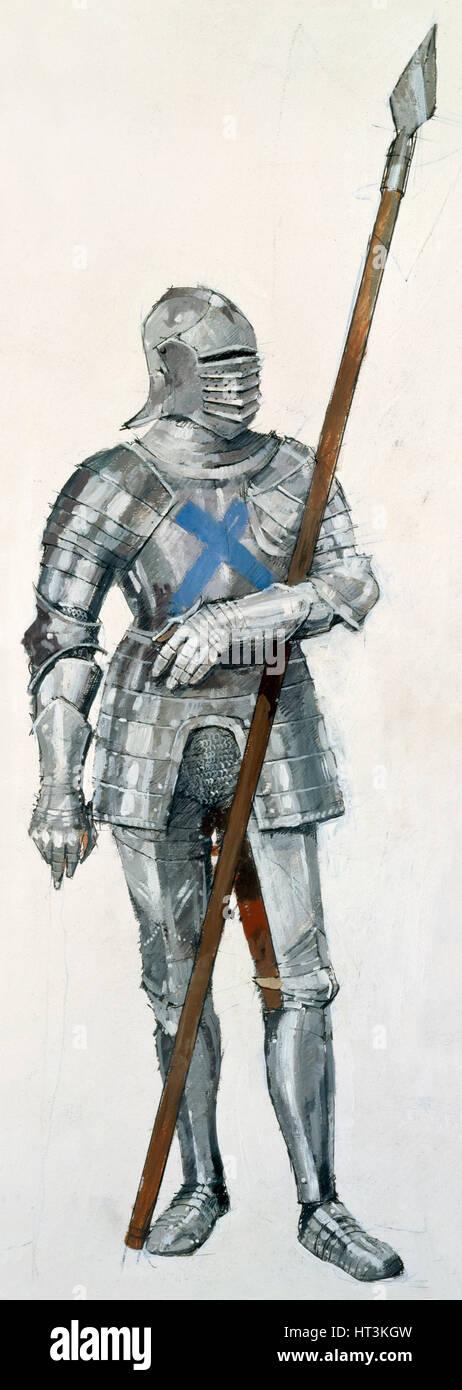 Scottish soldier, Battle of Flodden Field, 1513, (c1990-2010). Artist: Ivan Lapper. - Stock Image