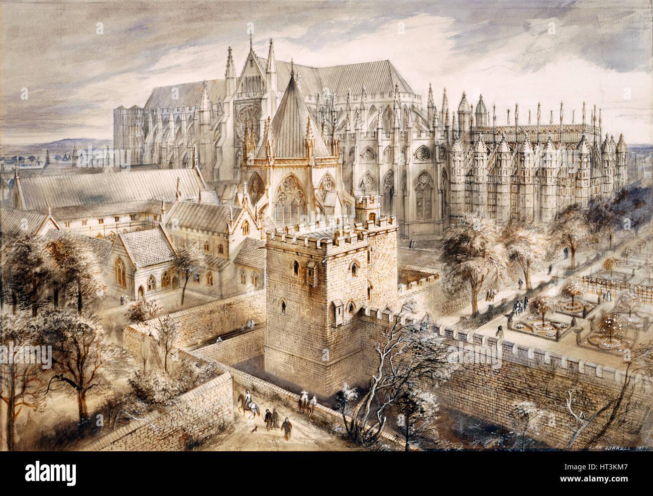 Jewel Tower, London, c14th-15th century, (1990-2010). Artist: Alan Ernest Sorrell. - Stock Image