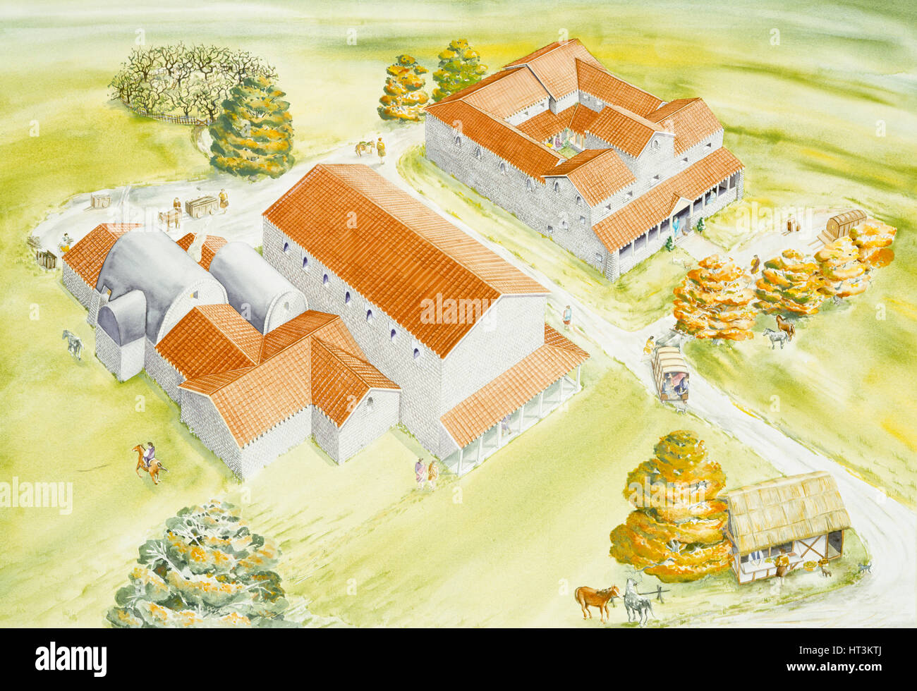 Wall Roman Site, c2nd century, (c1990-2010). Artist: Claire Thorne. - Stock Image