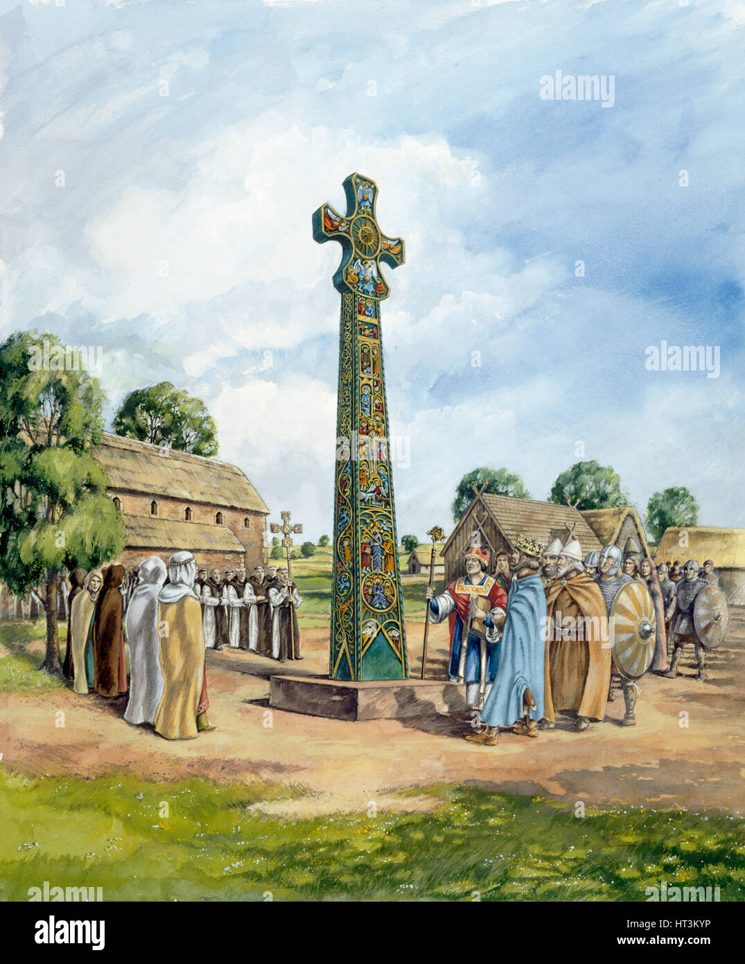 Sandbach Crosses, 9th century, (c1990-2010). Artist: Peter Dunn. - Stock Image