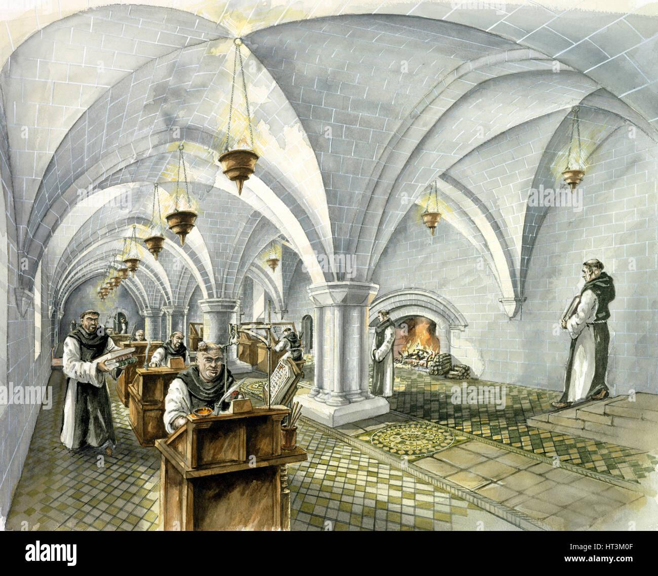 Rievaulx Abbey, 13th century, (c1990-2010). Artist: Peter Dunn. - Stock Image