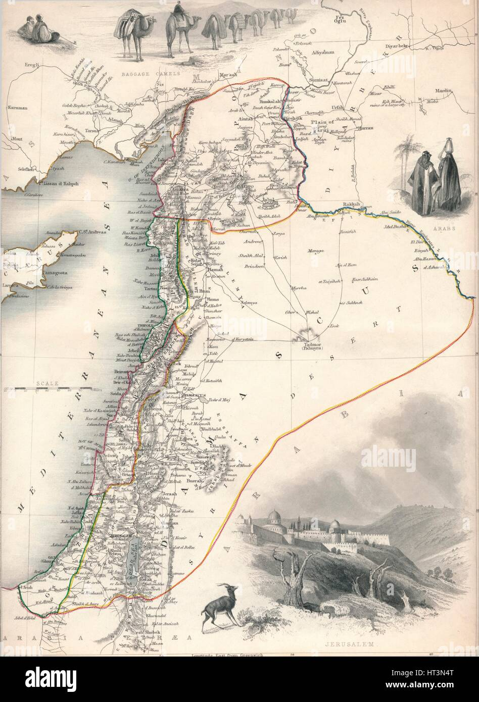 Map of Syria, 1851. Artist: John Tallis. - Stock Image