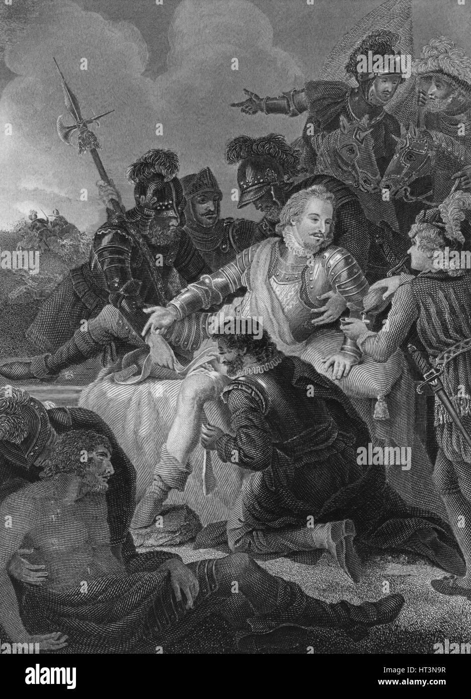 'Death of Sir Philip Sidney', 1859. Artist: Herbert Bourne. - Stock Image