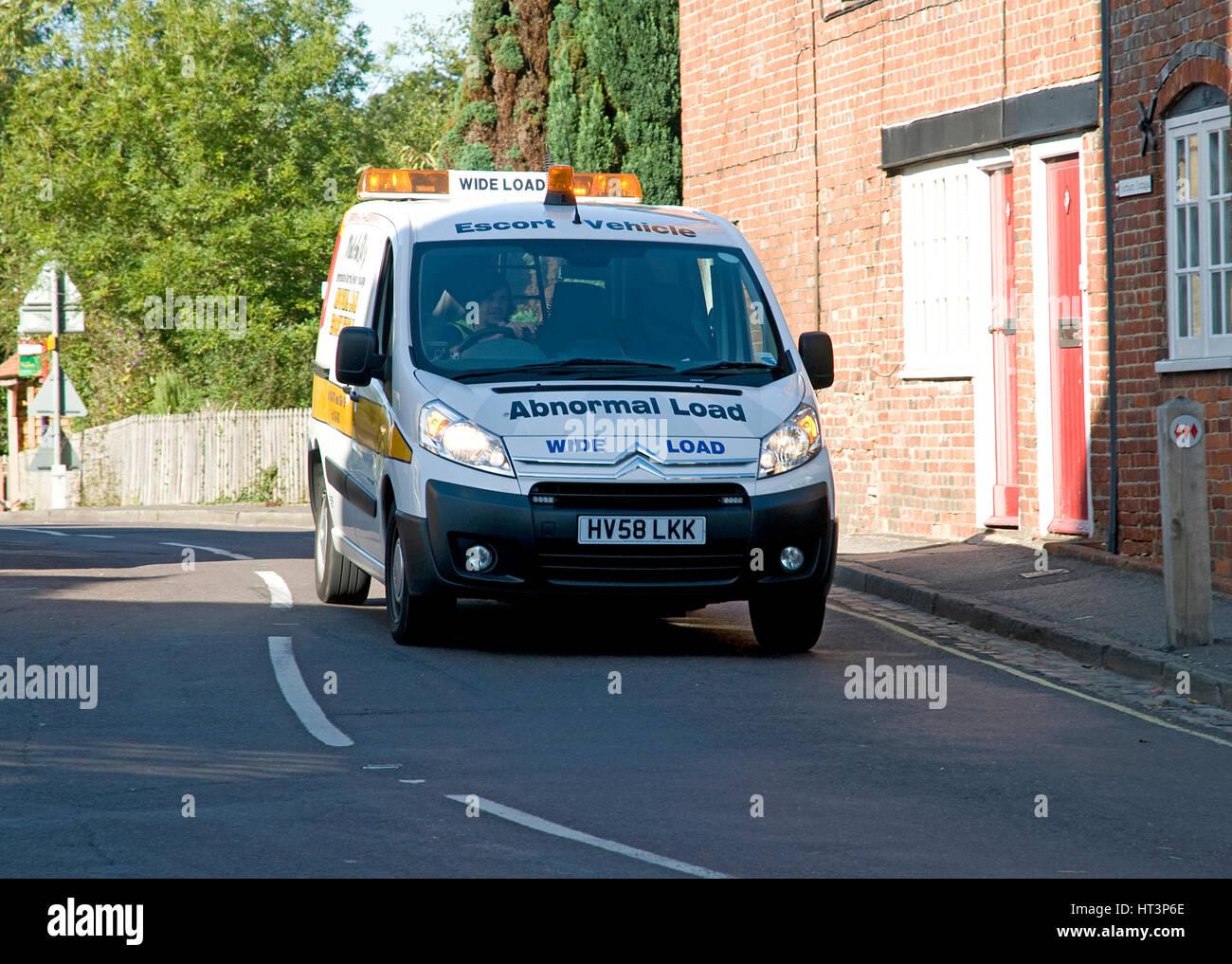 2008 Citroen van abnormal load warning vehicle Artist: Unknown. - Stock Image