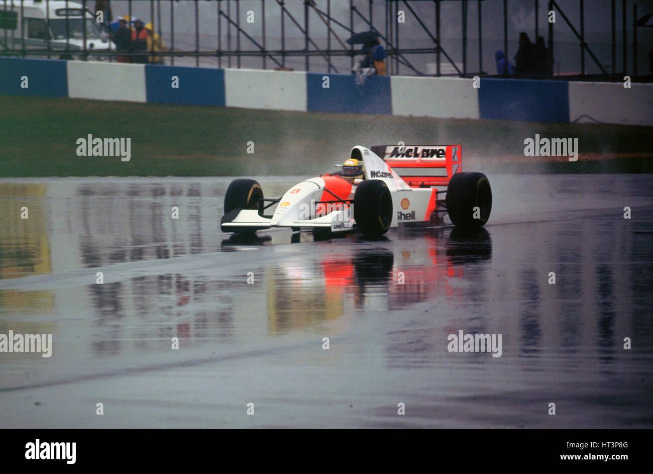 Ayrton Senna in the McLaren MP4-8 1993 European Grand Prix at Donington Artist: Unknown. - Stock Image