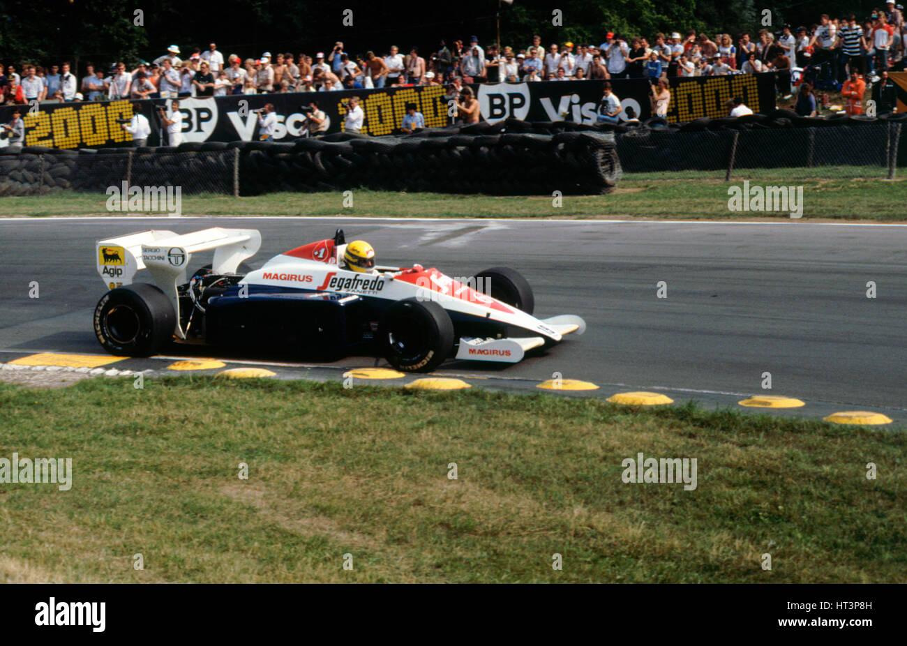 Ayrton Senna in the Toleman TG184 during 1984 British Grand Prix Brands Hatch Artist: Unknown. - Stock Image