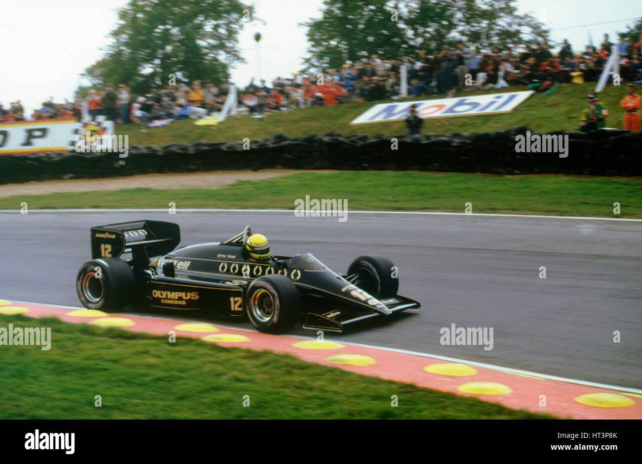 Ayrton Senna in the Lotus 97T Renault at 1985 European Grand Prix Brands Hatch Artist: Unknown. - Stock Image