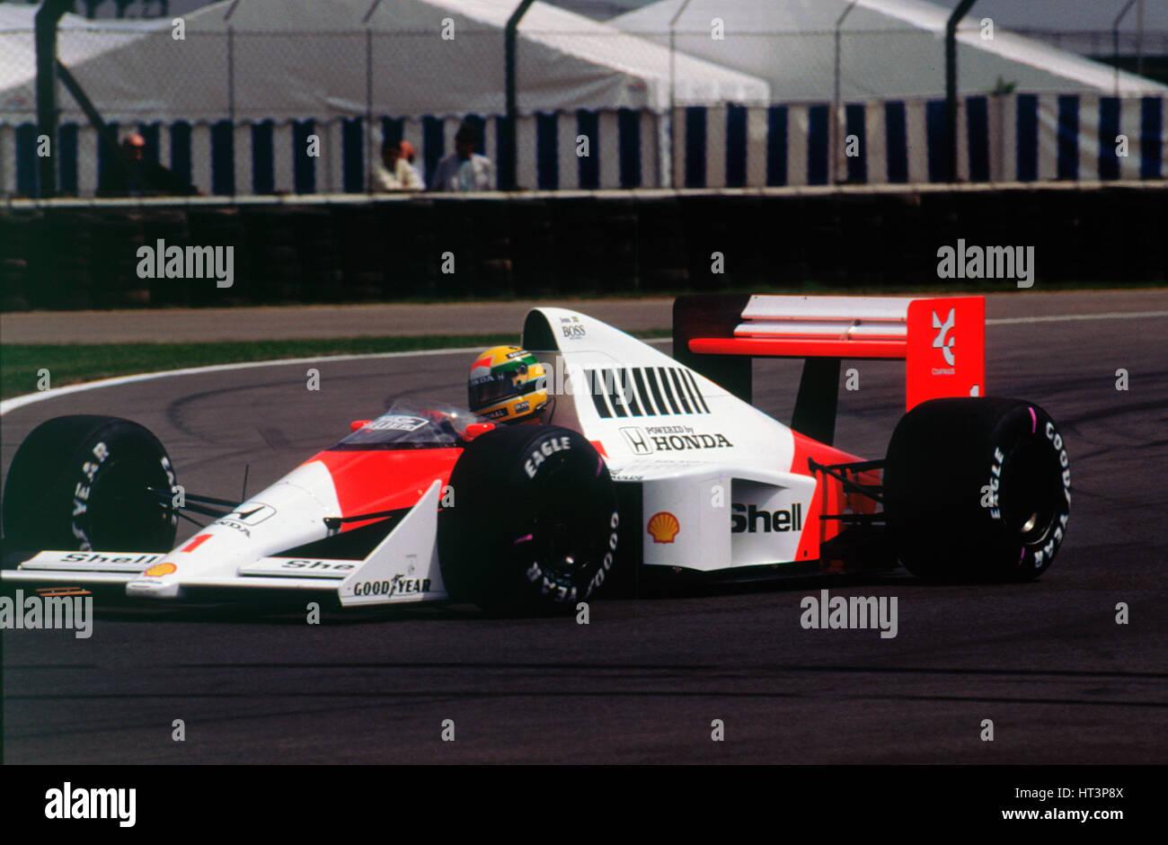 Ayrton Senna in the McLaren MP4-5 at 1989 British Grand Prix, Silverstone Artist: Unknown. Stock Photo