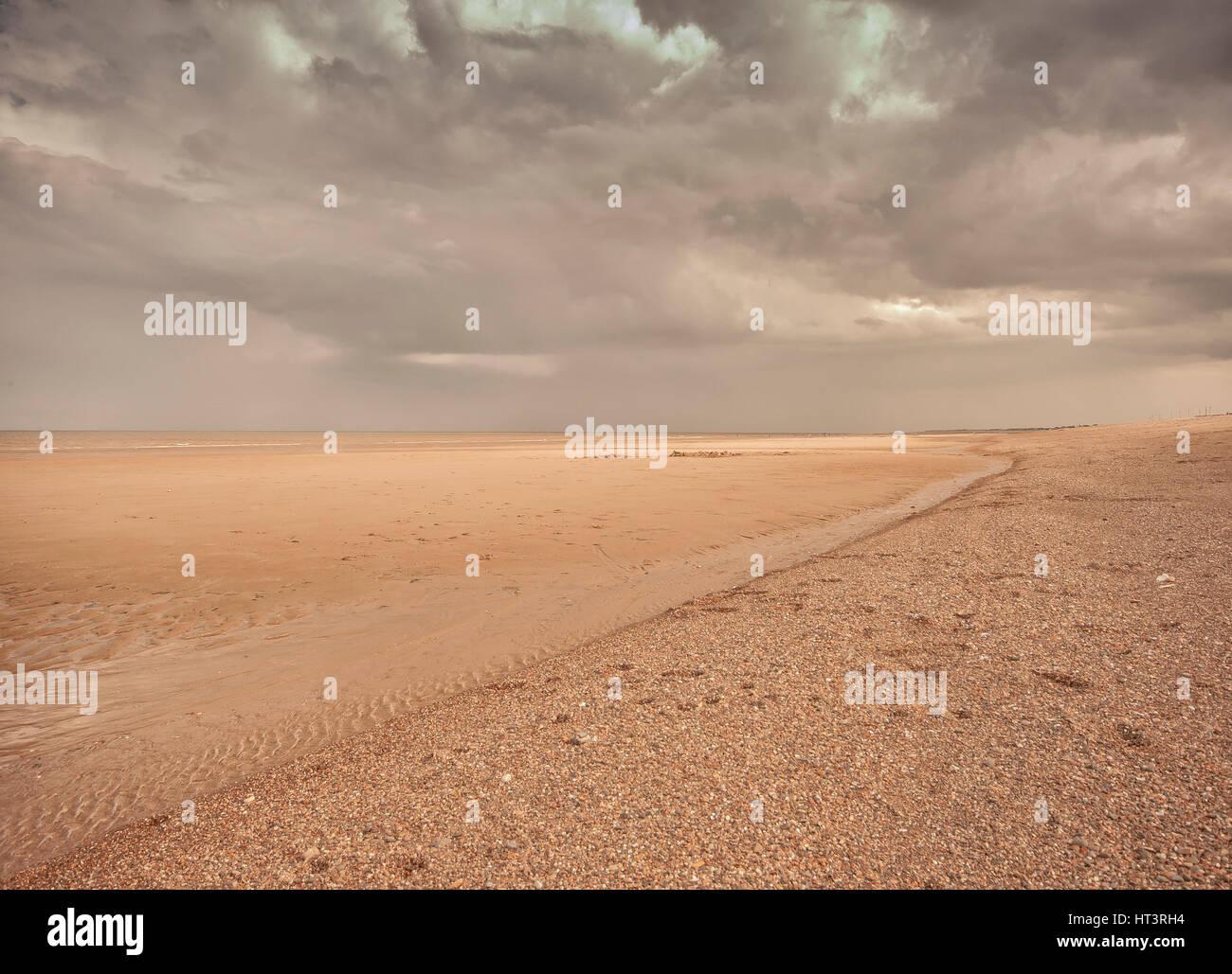 Beach scene,east coast England - Stock Image