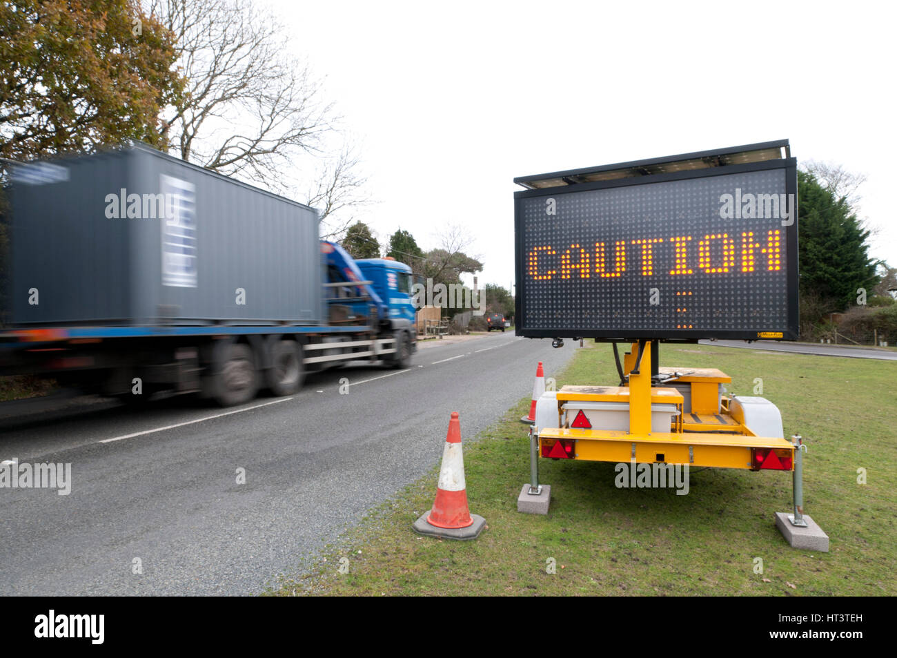 Mobile road matrix sign - Stock Image