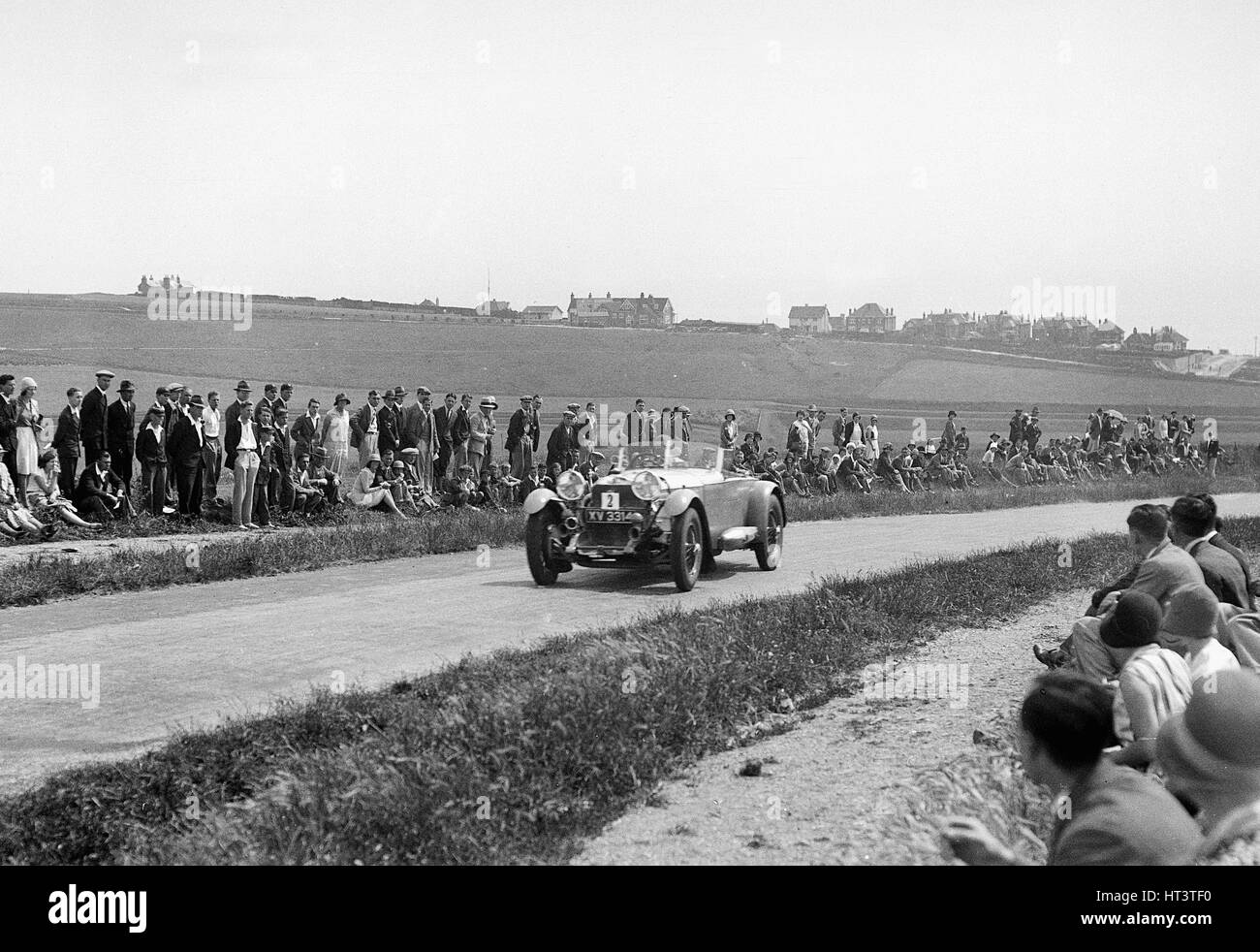 1929 Mercedes Benz driven by Earl Howe on 1930 Brighton rally acceleration trial Artist: Unknown. - Stock Image