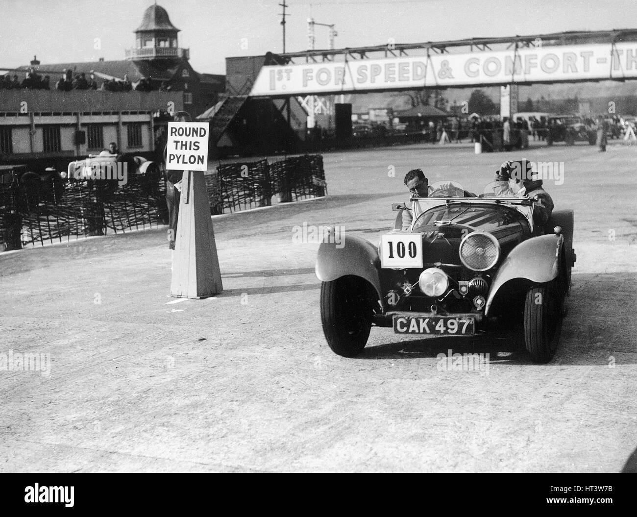 1938 S.S. 100 at Brooklands suring Junior Car Club event 25th March 1939 Artist: Unknown. - Stock Image