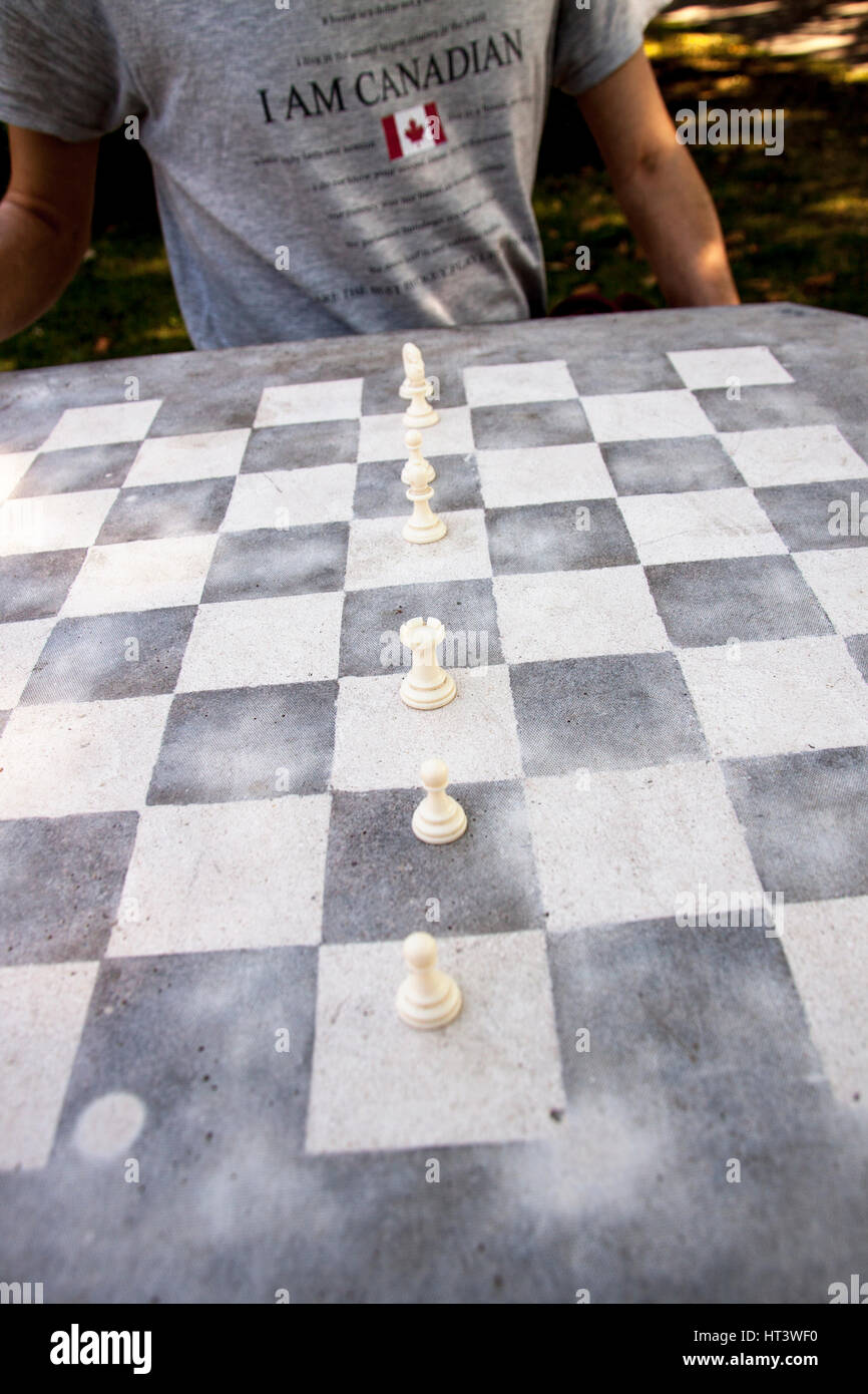 Male Sitting At An Outdoor Chess Table, Wearing A Grey T Shirt With The