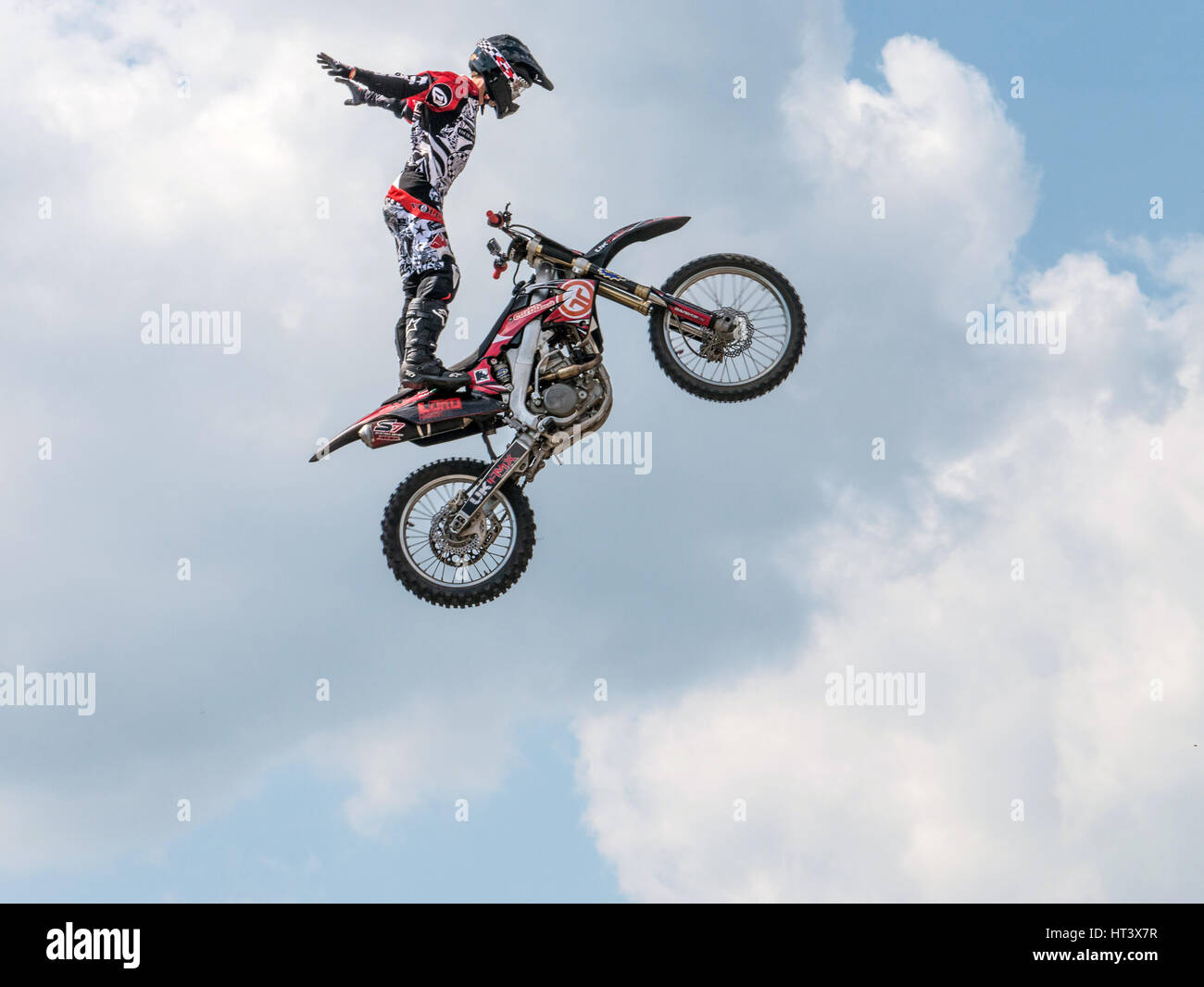 Freestyle Moto-Cross stunt motorcycling 2013 Artist: Unknown. - Stock Image