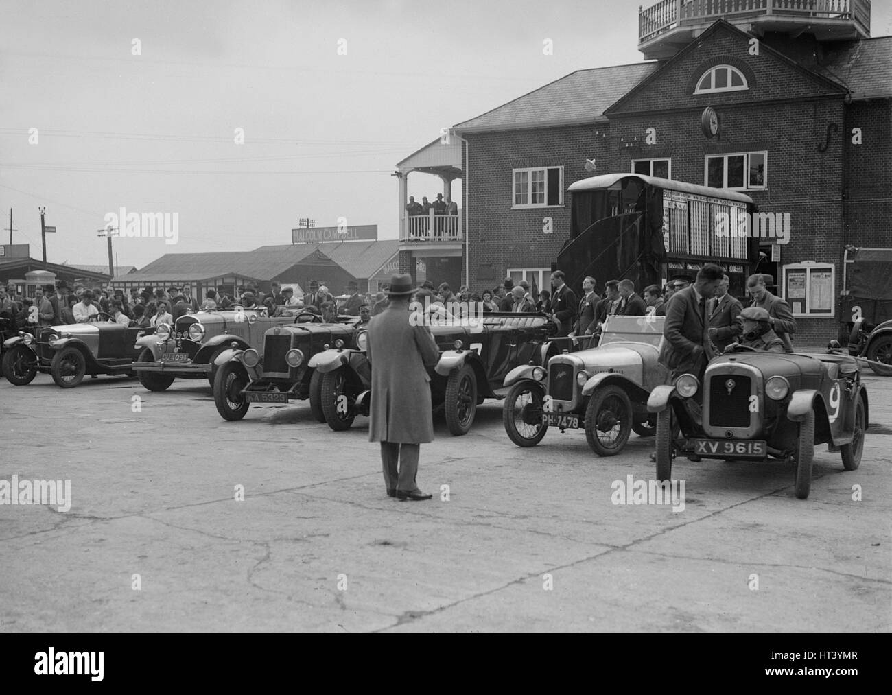 Cars at Brooklands, Surrey, c1930s. Artist: Bill Brunell. - Stock Image