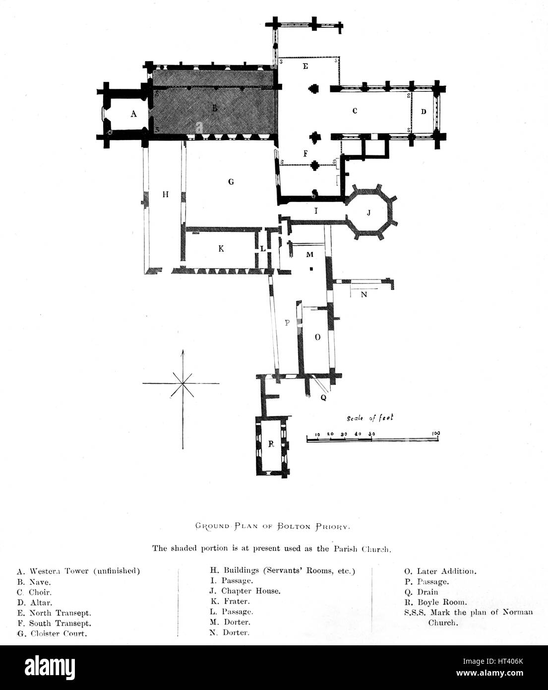 'Ground Plan of Bolton Priory', 1897. Artist: Alexander Francis Lydon. - Stock Image