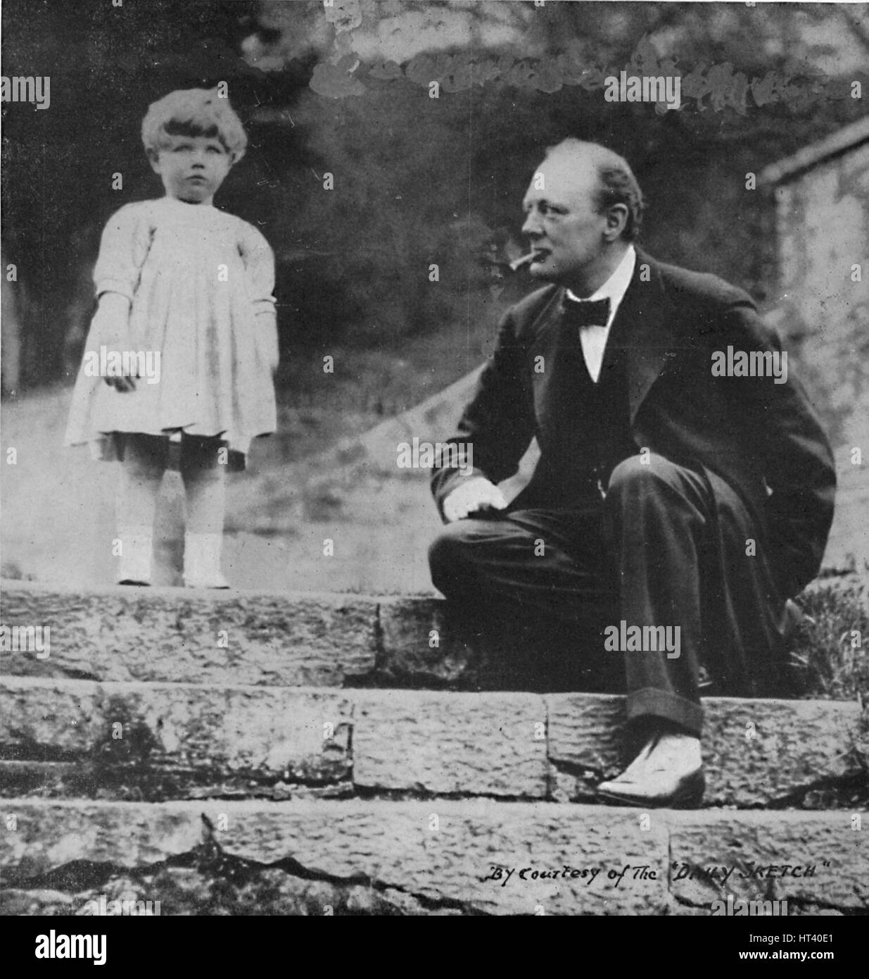 Winston Churchill with his daughter Mary at Chartwell, c1924, (1945). Artist: Unknown. - Stock Image