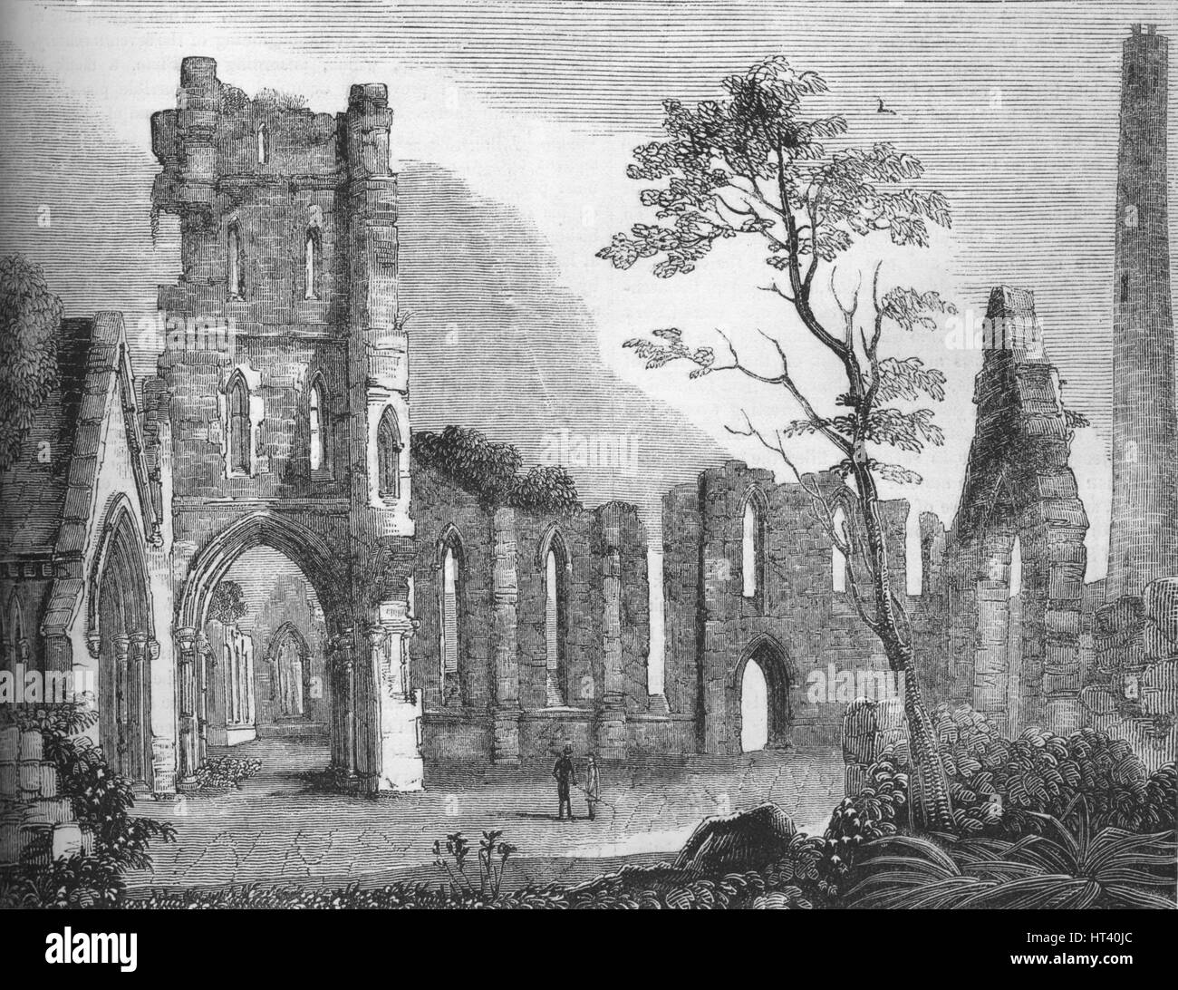'Cathedral of Kildare', 1845. Artist: Unknown. Stock Photo