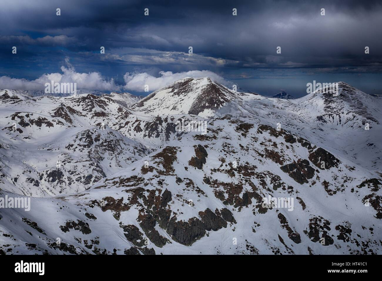 Sar / Sharr Mountains / Malet e Sharrit between Macedonia and Kosovo in winter seen from the highest peak of Kosovo - Stock Image