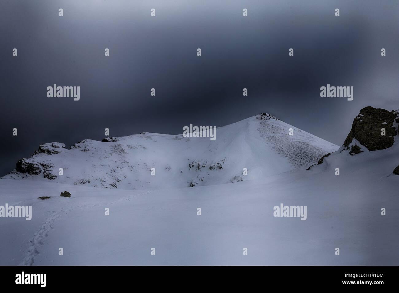 Rudoka / Maja e Njeriut the highest peak of Kosovo on the border with Macedonia in winter - Stock Image