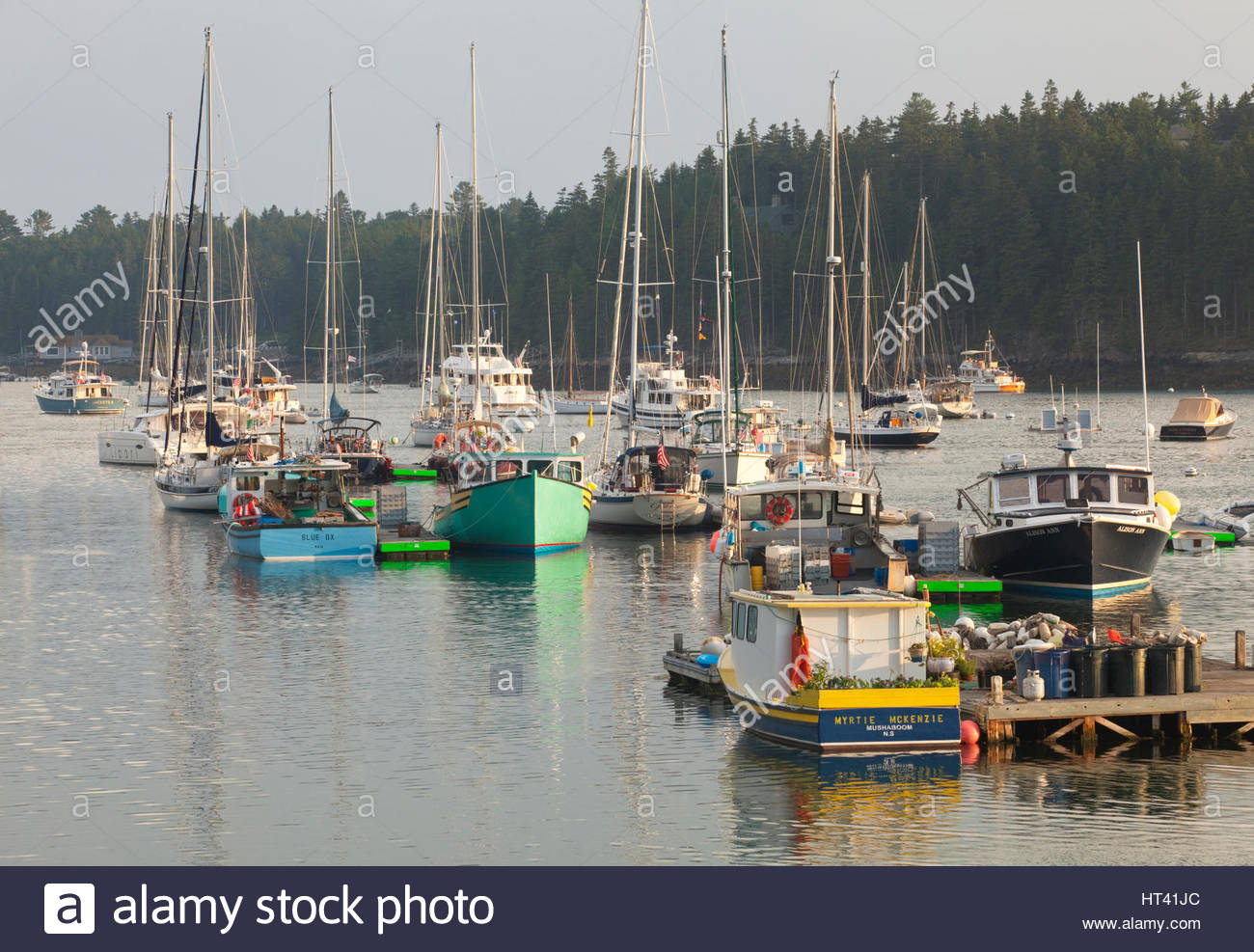 0902-1014  Lobster boats and sailboats in Northeast Harbor, Mt. Desert Island, Maine. - Stock Image