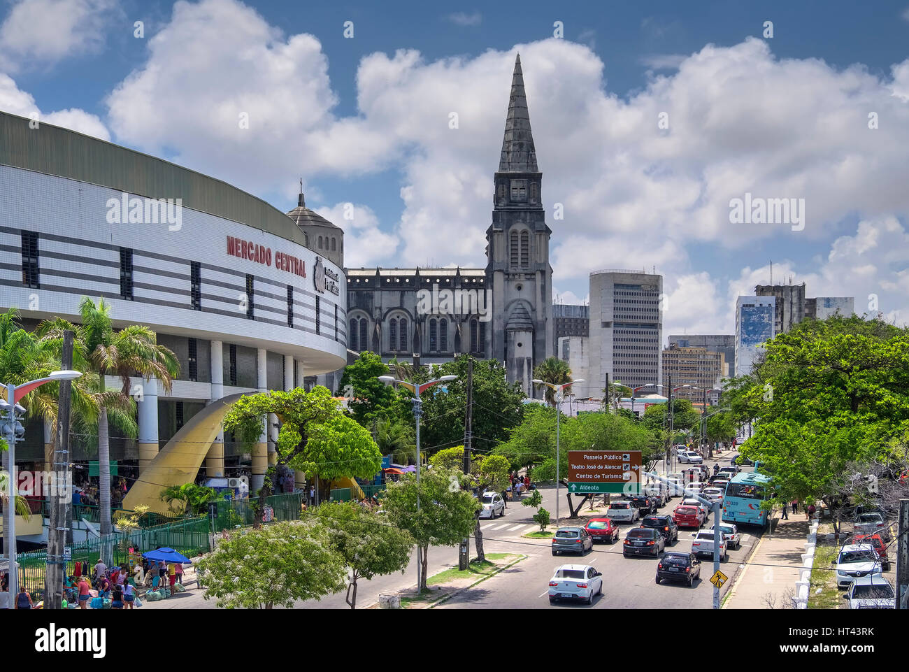 The Mercado Central or Central Market and St. Joseph's Cathedral, Fortaleza, State of Ceara, Brazil Stock Photo
