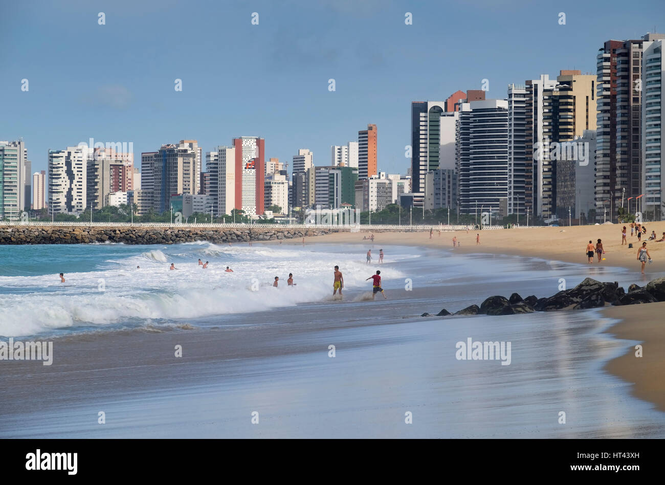 Golden Sands of Praia de Iracema Beach, Fortaleza, State of Ceara, Brazil, South America - Stock Image
