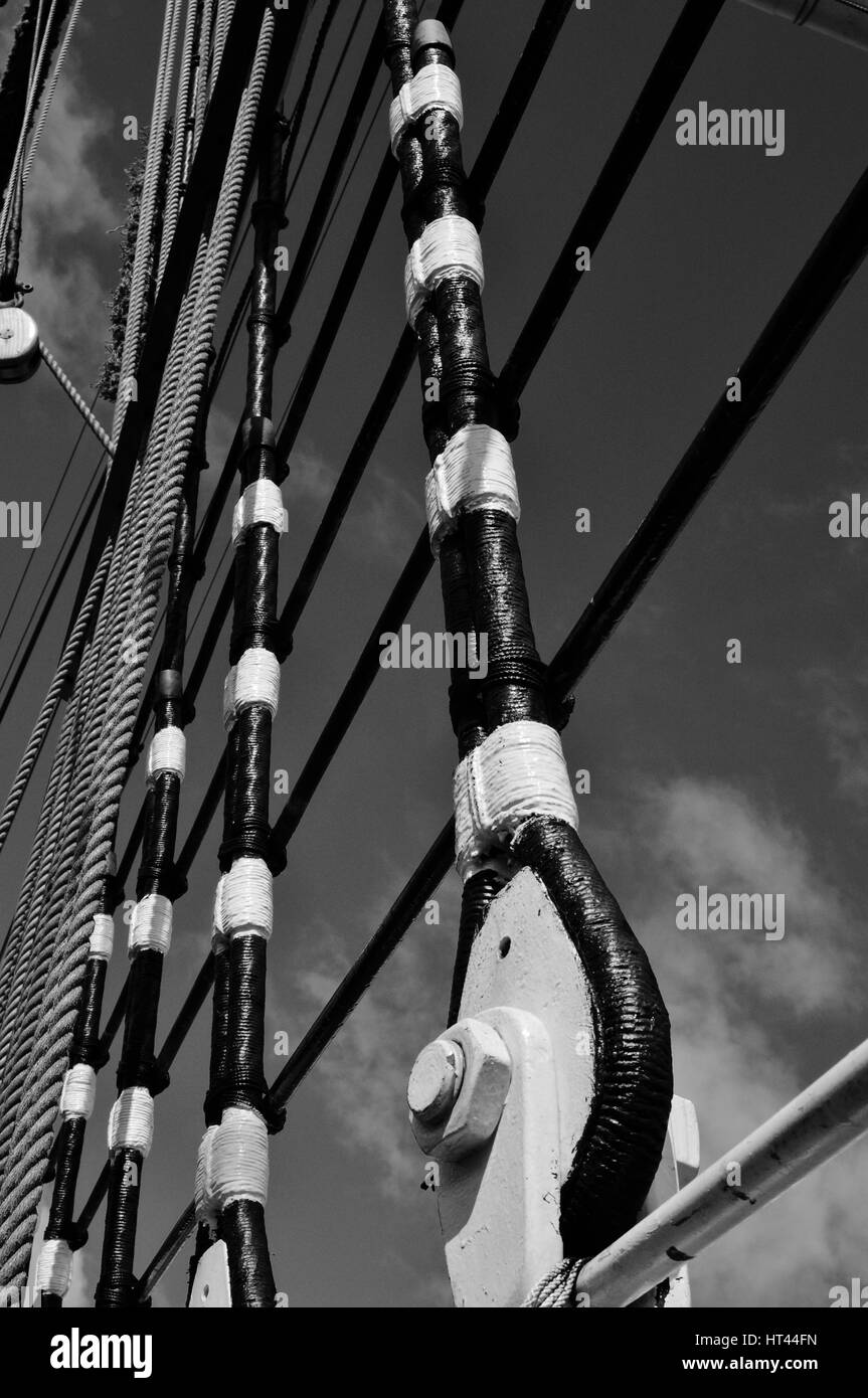 Abstract black and white images of a ships rigging - Stock Image