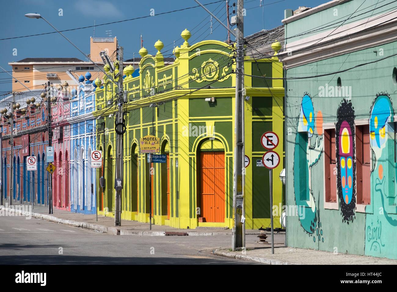 Colourful Buildings on Street Rua Almirante Jaceguai, Fortaleza, State of Ceara, Brazil, South America - Stock Image