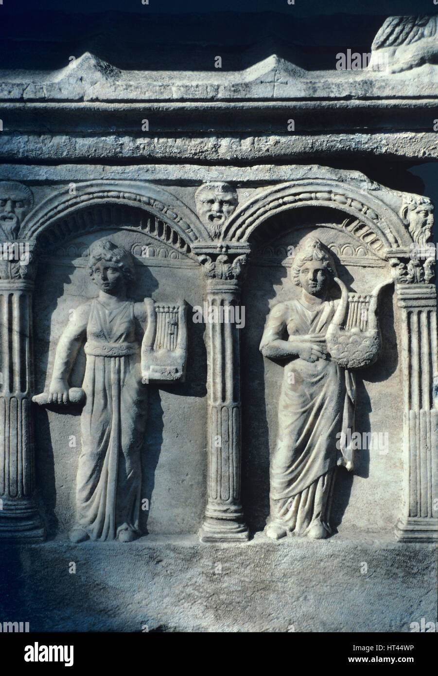 Women Playing Lyres on Hellenistic Tomb or Ancient Greek Sacrophagus from Ephesus Turkey - Stock Image