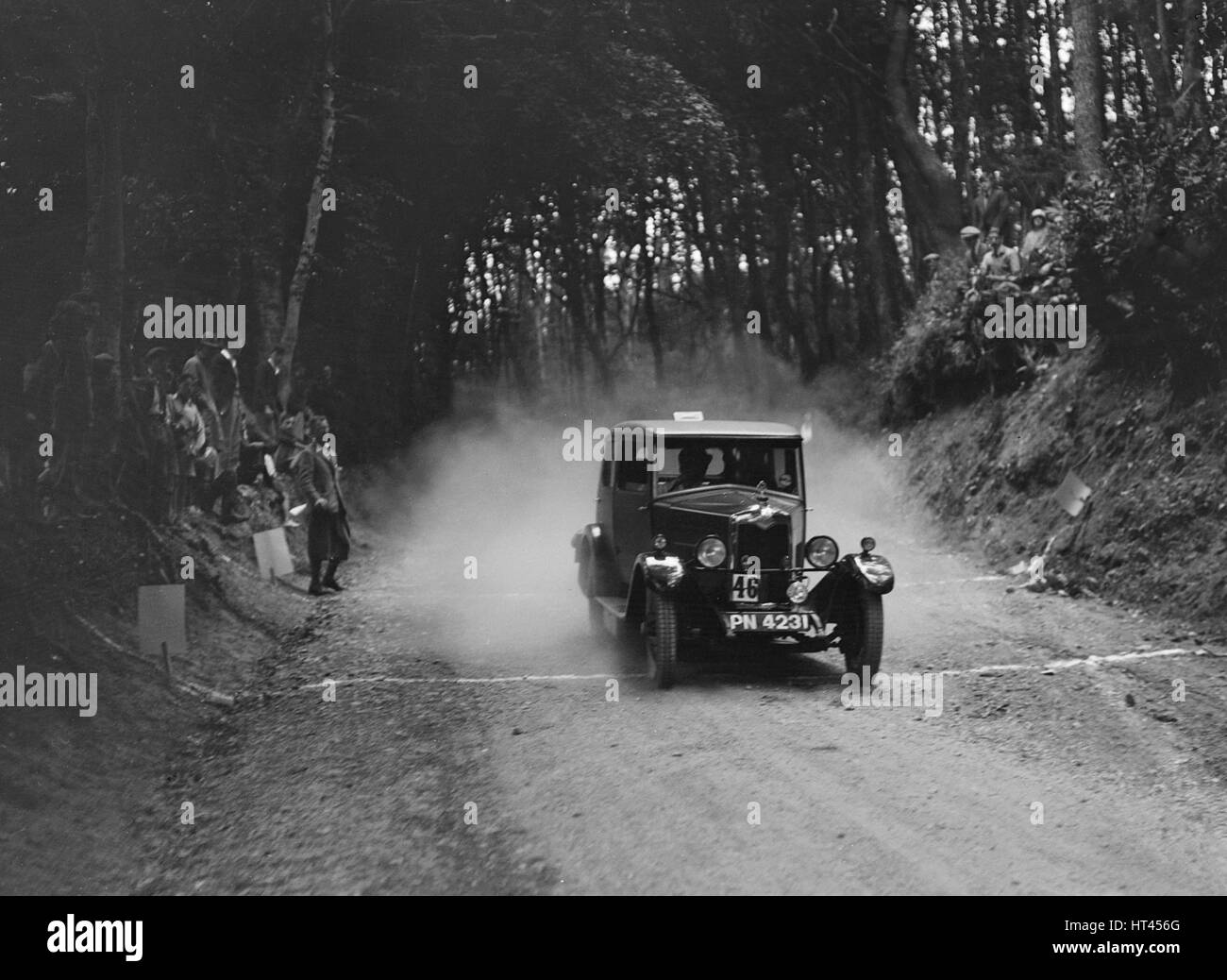 Riley taking part in a motoring trial, c1930s. Artist: Bill Brunell. - Stock Image
