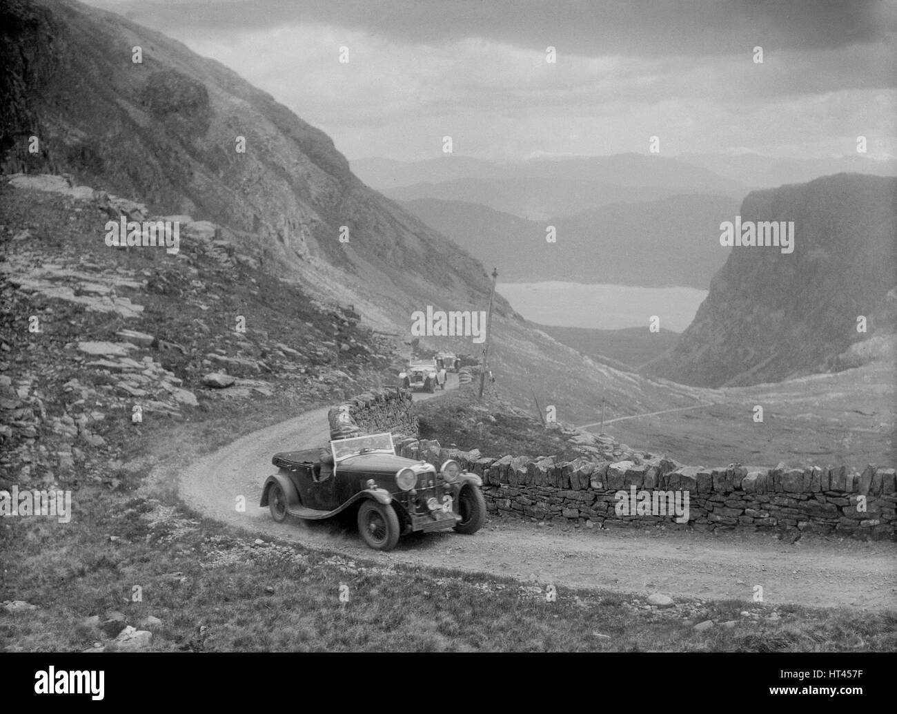 Lagonda competing in the RSAC Scottish Rally, 1936. Artist: Bill Brunell. - Stock Image