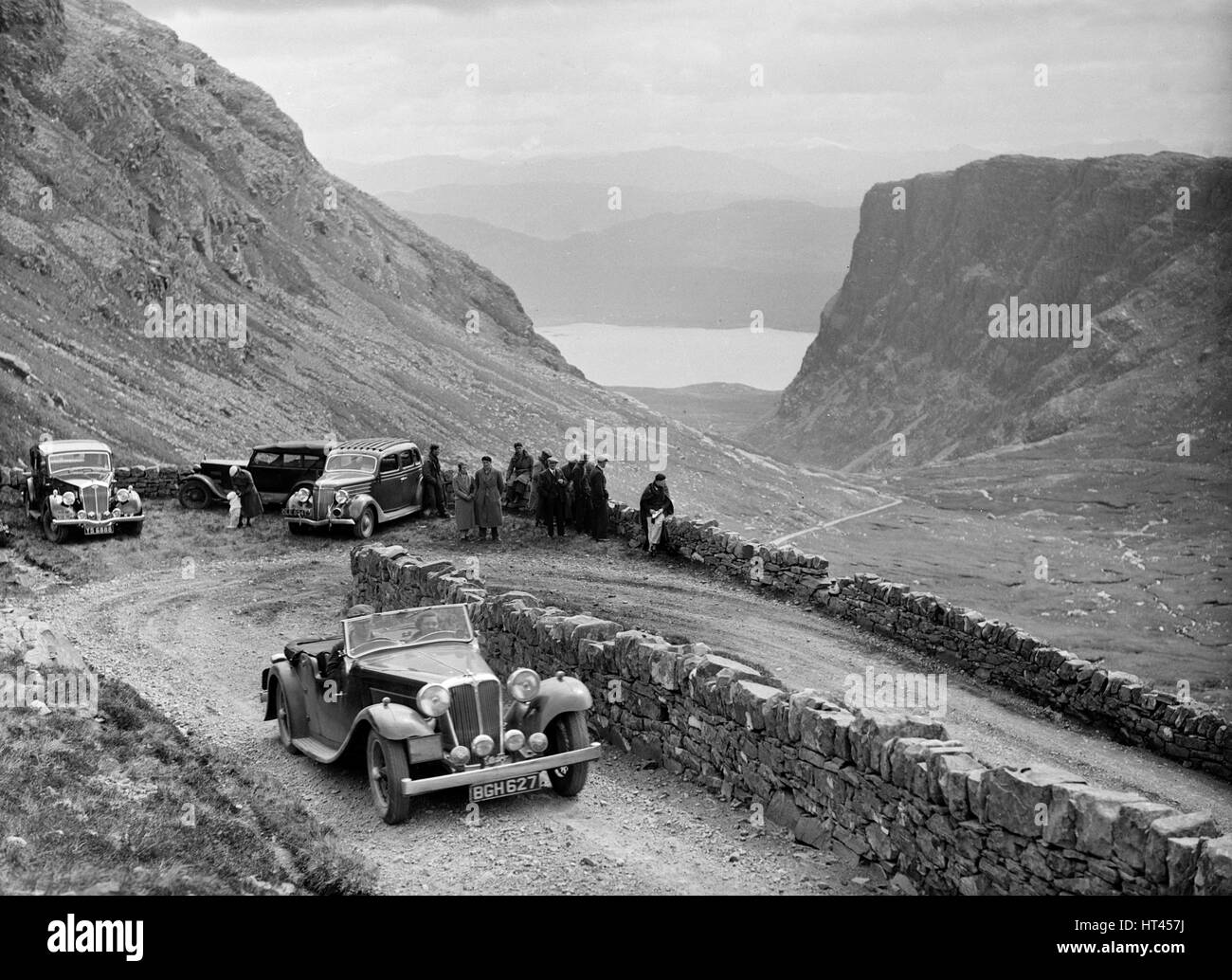SS Jaguar 1 competing in the RSAC Scottish Rally, 1936. Artist: Bill Brunell. - Stock Image