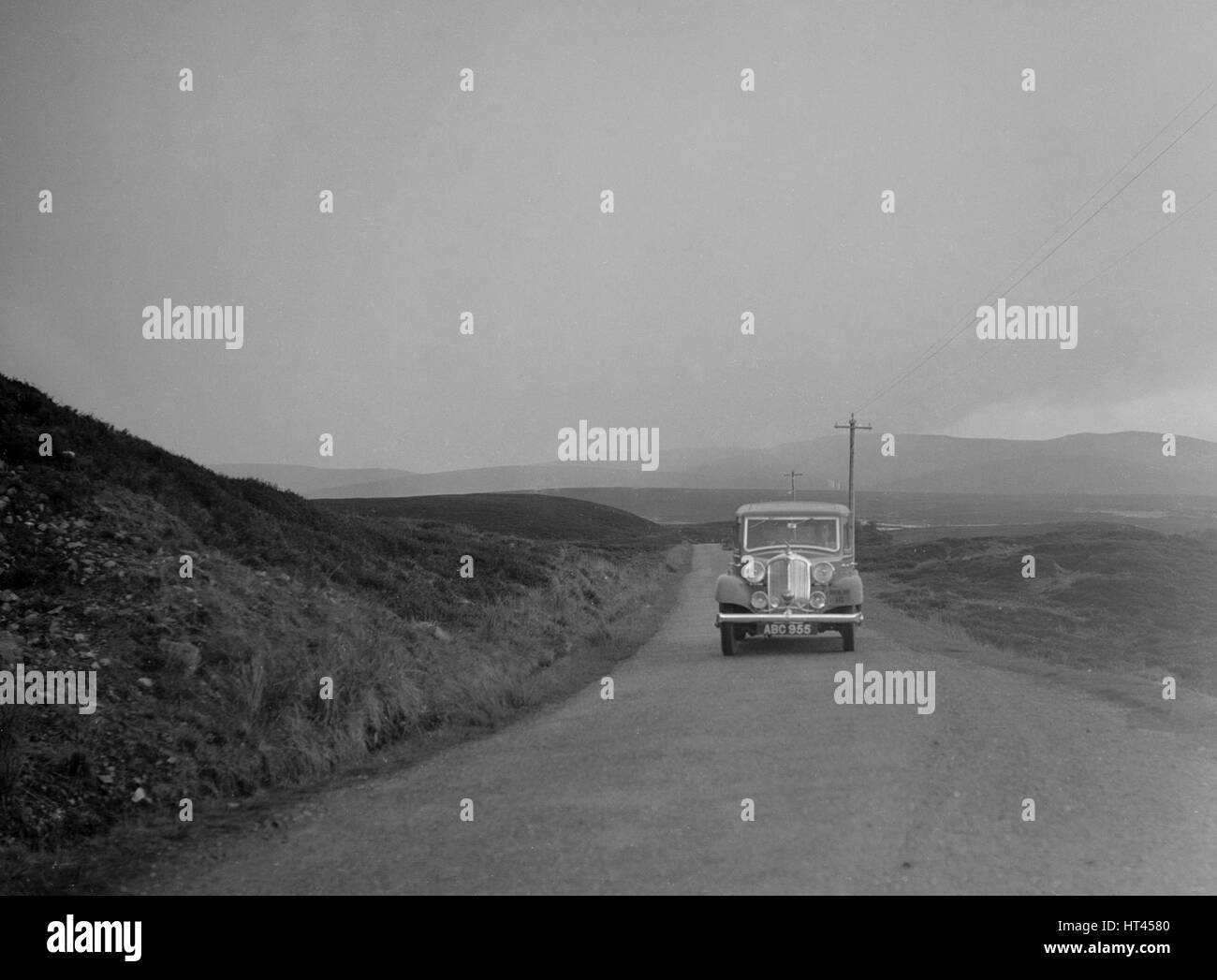 Rover of SJ Clutterbuck competing in the RSAC Scottish Rally, 1936. Artist: Bill Brunell. - Stock Image