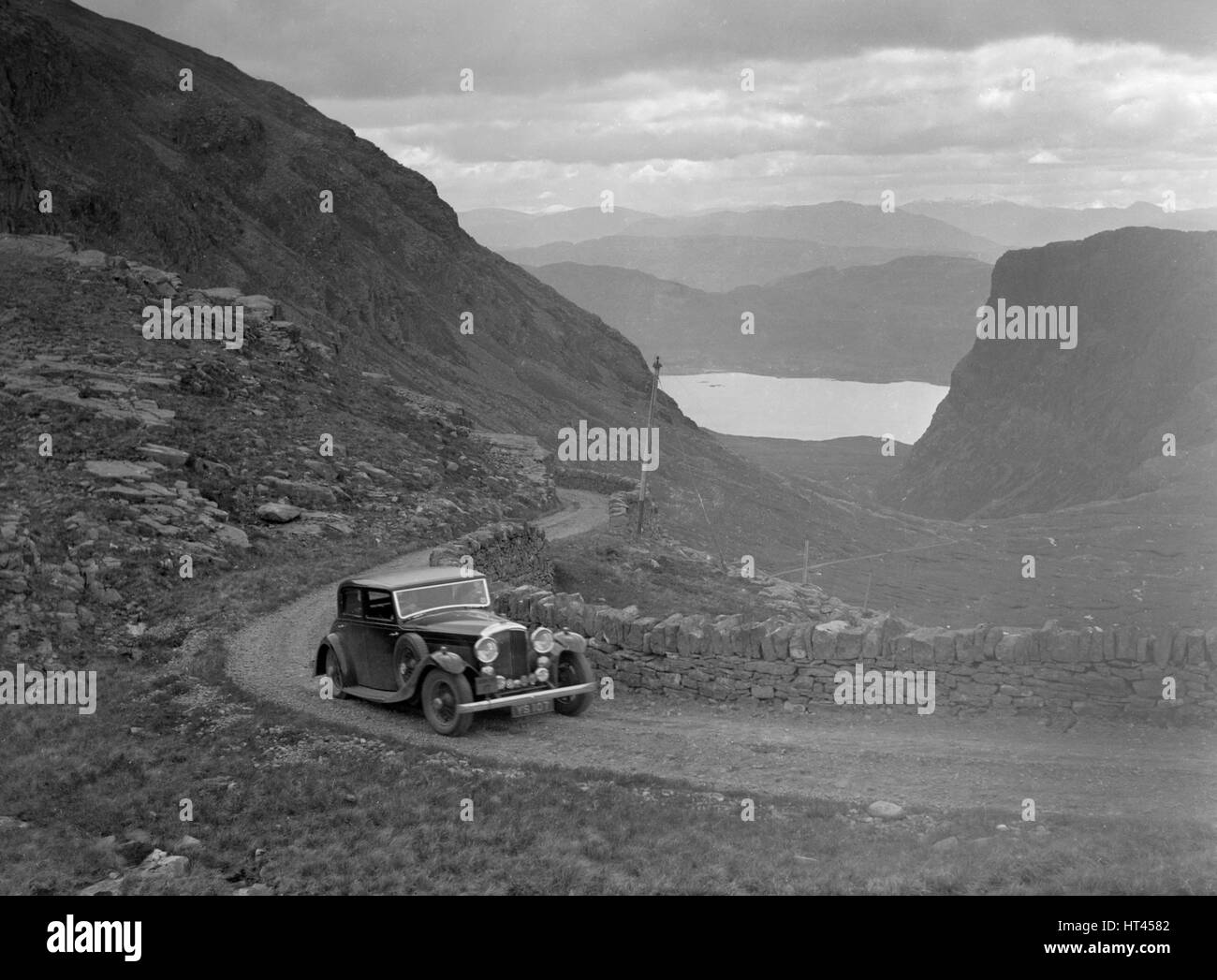 Bentley with Mulliner body of Miss MB Smith competing in the RSAC Scottish Rally, 1936. Artist: Bill Brunell. - Stock Image