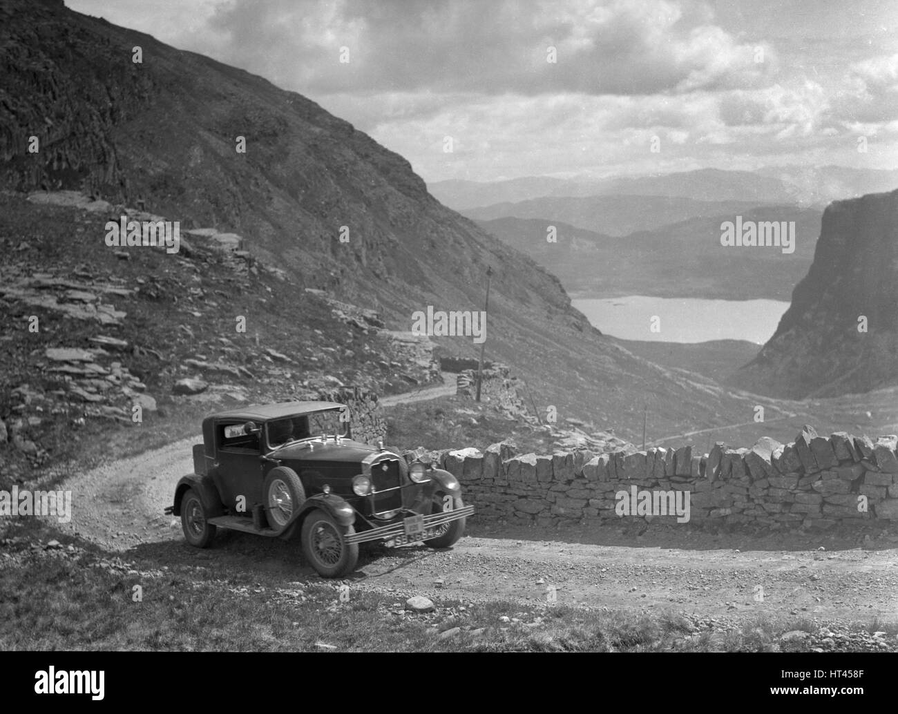 Rover saloon of I Ramsay competing in the RSAC Scottish Rally, 1936. Artist: Bill Brunell. - Stock Image