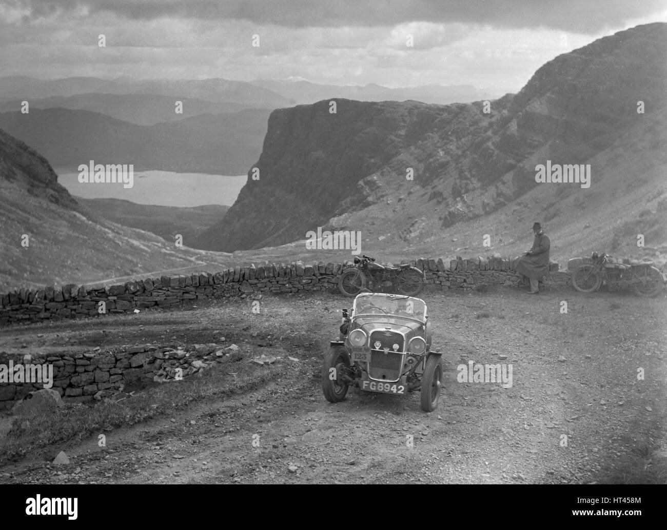 Singer Le Mans of TL McDonald competing in the RSAC Scottish Rally, 1936. Artist: Bill Brunell. - Stock Image